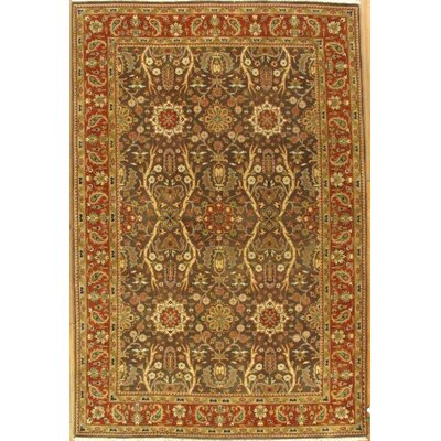 Genuine Tabriz Hand-Knotted Wool Brown Area Rug