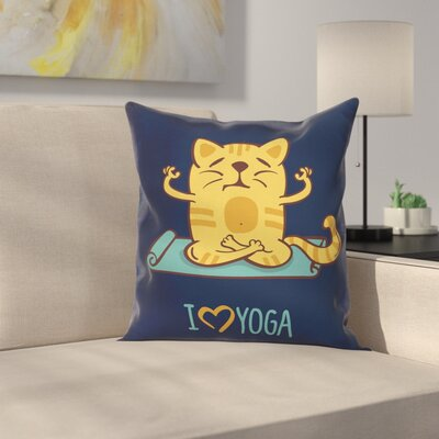 Cartoon Cute Cat Lotus Position Square Pillow Cover Size: 24 x 24