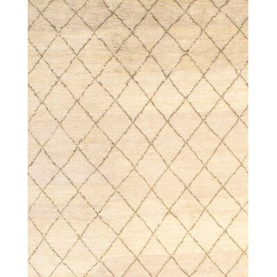 Moroccan Modern Hand-Knotted Wool Ivory Area Rug Rug Size: Rectangle 61 x 811