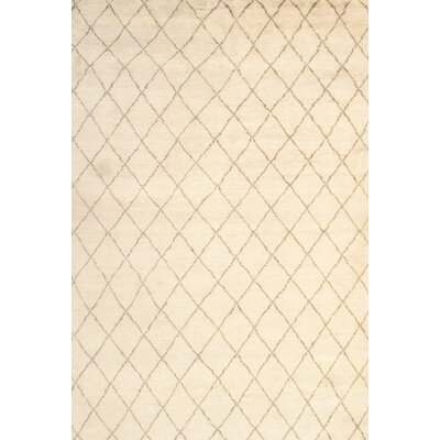 Moroccan Modern Hand-Knotted Wool Ivory Area Rug Rug Size: Rectangle 61 x 9