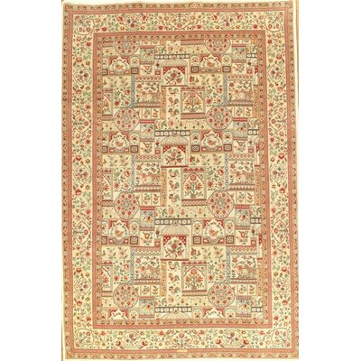 Genuine Kerman Hand-Knotted Wool Beige Area Rug