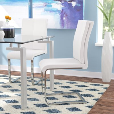 Mariam Upholstered Dining Chair Color: White
