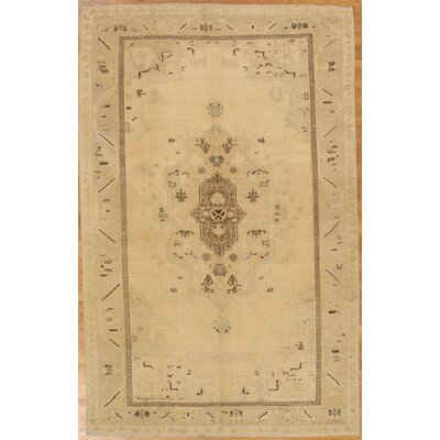 Genuine Turkish Oushak Hand-Knotted Wool Ivory Area Rug