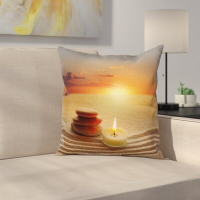 Zen Yoga Candle Cushion Pillow Cover Size: 20 x 20