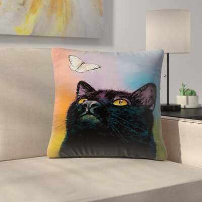 Black Cat Butterfly Throw Pillow Size: 16 x 16