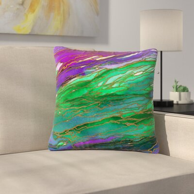 Ebi Emporium Agate Magic Abstract Geological Painting Outdoor Throw Pillow Color: Lime Purple/Green, Size: 18