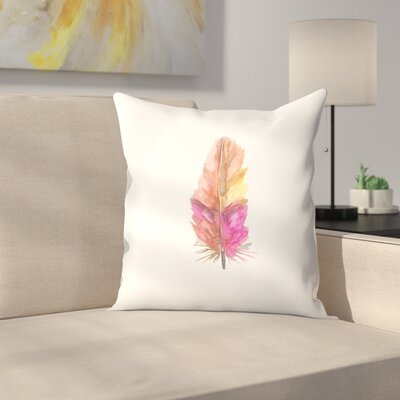 Jetty Printables Feather Watercolor Painting Throw Pillow Size: 16 x 16