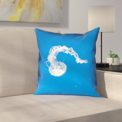 Floating Jellyfish Pillow Cover with Zipper Size: 18 x 18