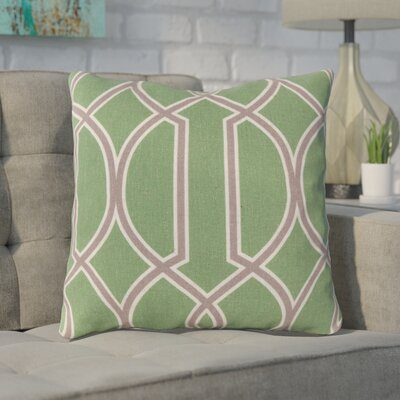 Georgios Intersecting Lines Throw Pillow Size: 18 H x 18 W x 4 D, Color: Peridot / Elephant Gray / Parchment, Filler: Down