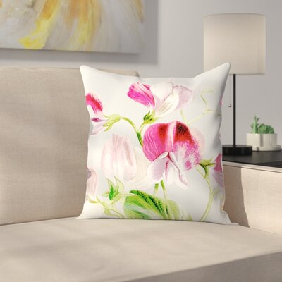 Gray Pink Flowers Throw Pillow Size: 14 x 14