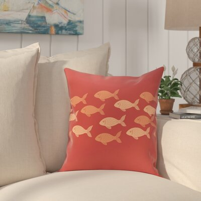 Golden Lakes Fish Line Coastal Outdoor Throw Pillow Size: 18 H x 18 W, Color: Coral