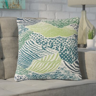 Bevers Ikat Cotton Throw Pillow Color: Green