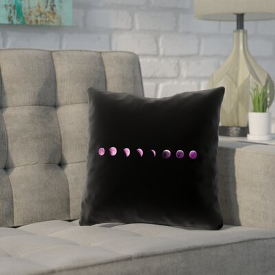 Enciso Moon Phase Square Pillow Cover Color: Purple, Size: 16 x 16