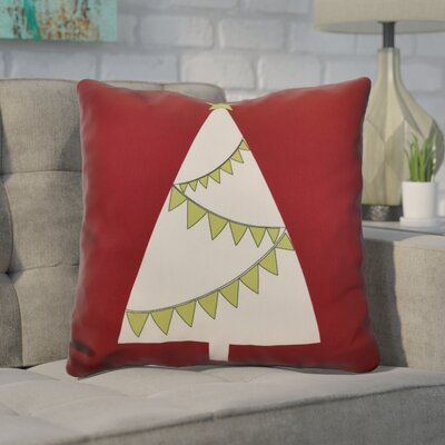 Christmas Garland Tree Throw Pillow Size: 20 H x 20 W, Color: Cranberry
