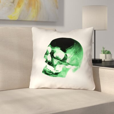 Waterproof Skull Throw Pillow Color: Green/Black/White, Size: 18 x 18