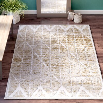 Dolezal Brown/White Area Rug Rug Size: Rectangle 76 x 106