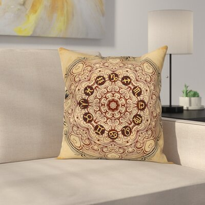 Eastern Mandala Zodiac Square Pillow Cover Size: 16 x 16