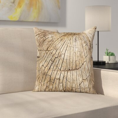 Timber Wooden Nature Forest Square Pillow Cover Size: 16 x 16