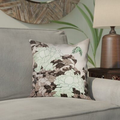 Clair Peonies with Butterfly Outdoor Throw Pillow Color: Green, Size: 16 x 16