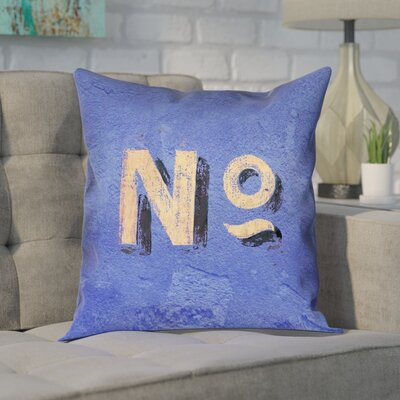 Enciso Graphic Wall Pillow Cover Size: 16 x 16, Color: Blue/Beige