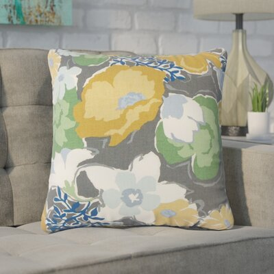 Guarani Floral Cotton Throw Pillow Color: Graystone