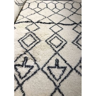 Genuine Fine Moroccan Hand-Woven Wool White Area Rug