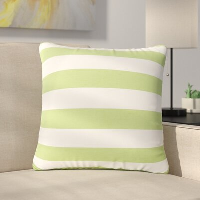 Mayne Square Striped Outdoor Throw Pillow Color: Green/White