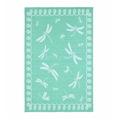 Dragonfly Turquoise Indoor/Outdoor Area Rug
