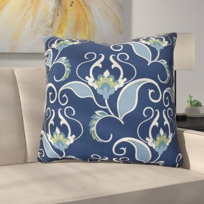 Harmen Floral Print Throw Pillow Size: 16 H x 16 W x 3 D, Color: Blue