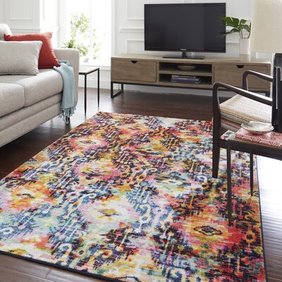 Locher Red Rug Rug Size: Rectangle 5 x 8