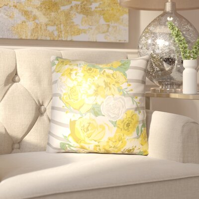 Langridge Indoor/Outdoor Throw Pillow Size: 22 H x 22 W x 3 D, Color: Yellow