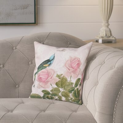 Lablanc Asian Rose Floral Print Throw Pillow Size: 16 H x 16 W, Color: Pink