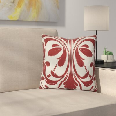 Harmen Print Throw Pillow Size: 16 H x 16 W x 3 D, Color: Red