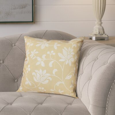 Cecilia Traditional Floral Outdoor Throw Pillow Size: 18 H x 18 W, Color: Gold