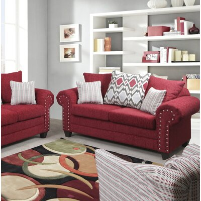 Mandros Loveseat Upholstery : Home Run Red