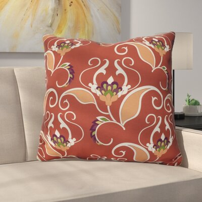 Harmen Floral Print Throw Pillow Size: 18 H x 18 W x 3 D, Color: Orange