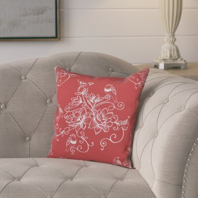 Cecilia Morning Birds Floral Print Throw Pillow Size: 26 H x 26 W, Color: Coral