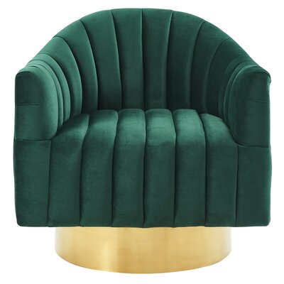 Lachapelle Swivel Velvet Armchair Upholstery: Green/Gold