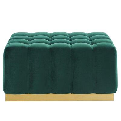 Hedrick Velvet Ottoman Upholstery: Green/Gold