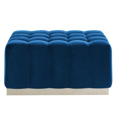 Hedrick Velvet Ottoman Upholstery: Blue/Silver
