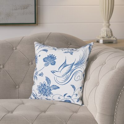 Cecilia Traditional Bird Throw Pillow Size: 20 H x 20 W, Color: Blue