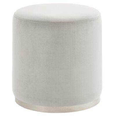Hedrick Velvet Ottoman Upholstery: Ivory, Color: Silver