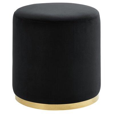 Hedrick Velvet Ottoman Upholstery: Black, Color: Silver