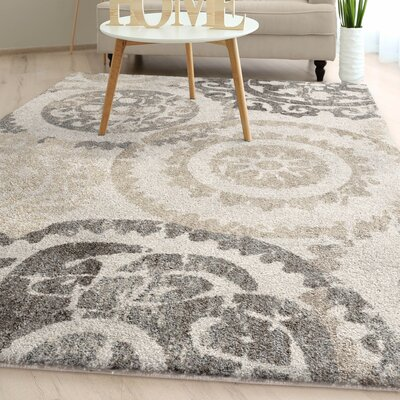 Hubbs Distressed Medallion Plush Ivory Area Rug