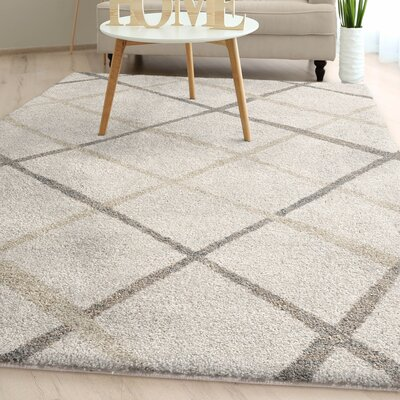 Withyditch Diamond Plush Ivory Area Rug