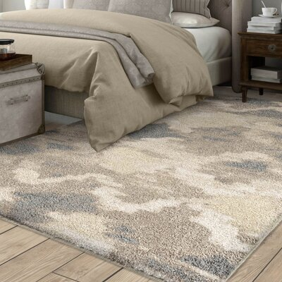 Maly Abstract Ogee Smoke Plush Ivory Area Rug