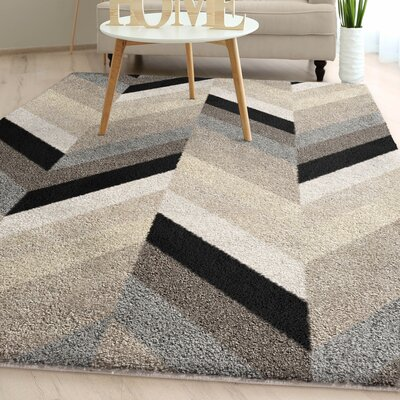 Charters Towers Modern Chevron Plush Ivory Area Rug