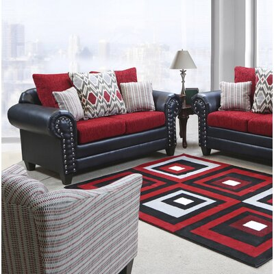 Mandros Loveseat Upholstery : Bravo Black / Home Run Red