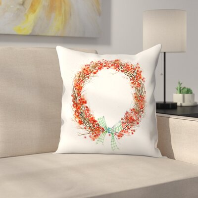 Twig and Berry Wreath Throw Pillow Size: 14 x 14