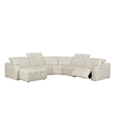 Loar Leather Reclining Sectional Orientation: Right